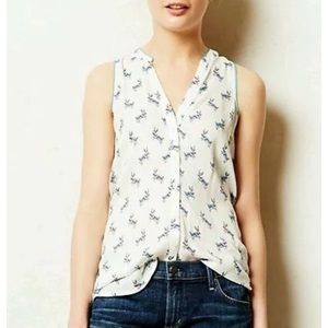 Anthropologie Maeve sleeveless rabbit blouse